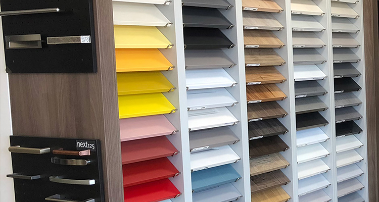 Worktops and handles on display at benfleet kitchen showroom