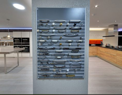 door handles on display at kitchen showroom in kent
