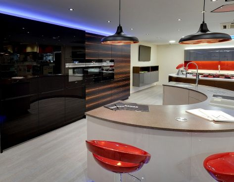 modern kitchen on display at kitchen showroom in kent
