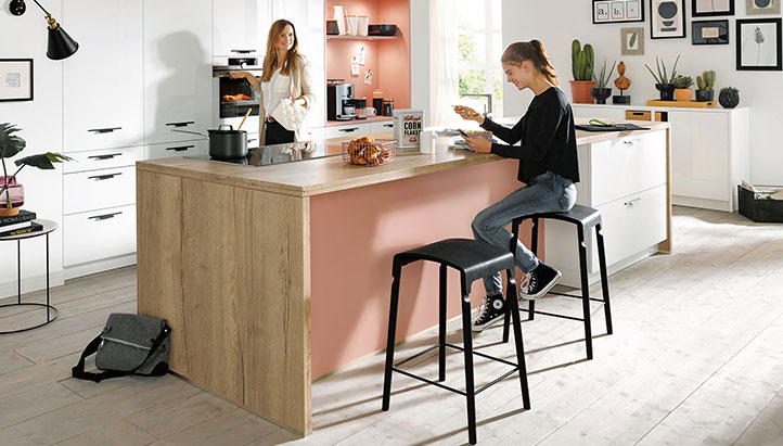 Freestanding kitchen island with seating