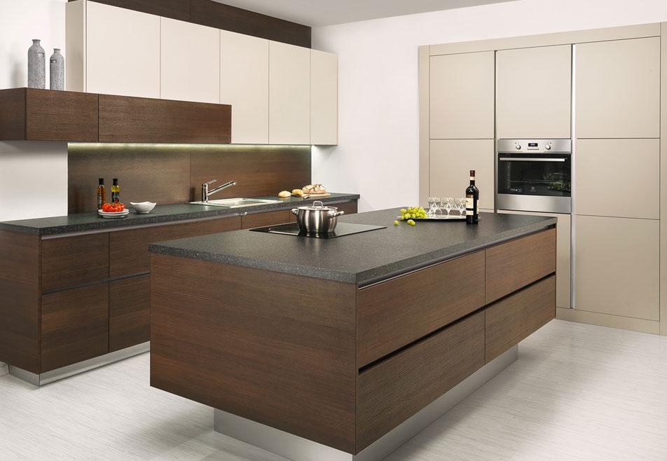 Cream Wood Handleless Kitchen