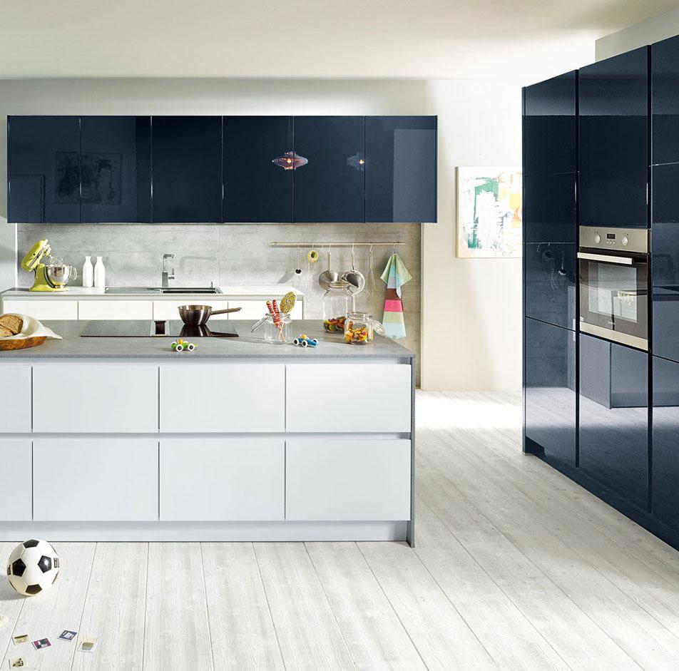 Dark Blue Handleless Kitchen