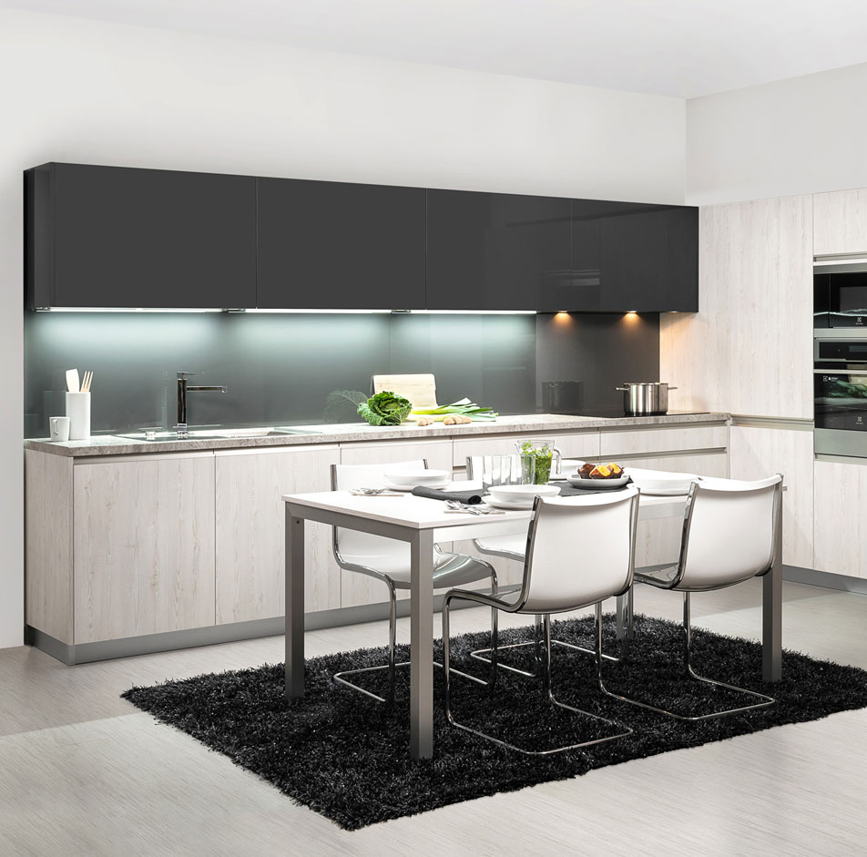 Dark Gray Handleless Kitchen