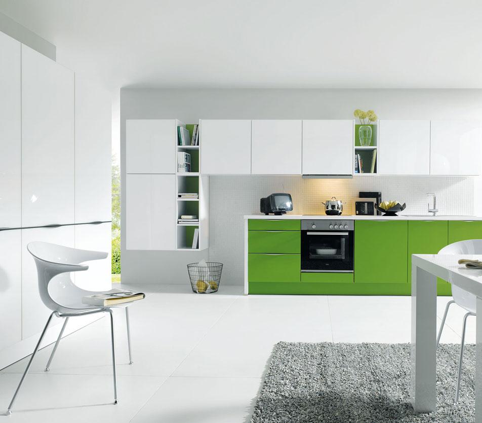 Green Handleless Kitchen