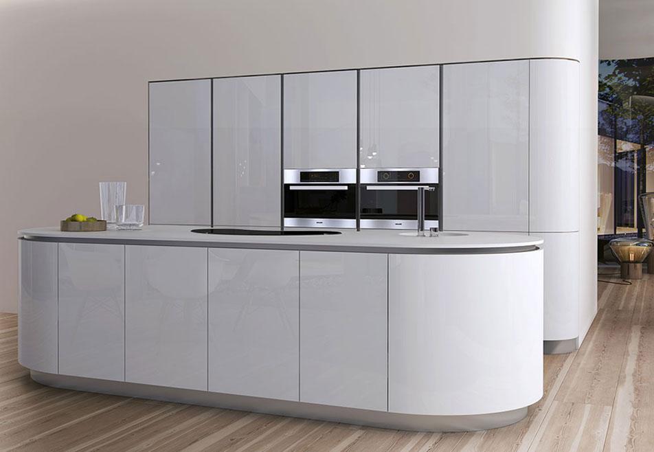 White Brilliant Gloss Handleless Kitchen