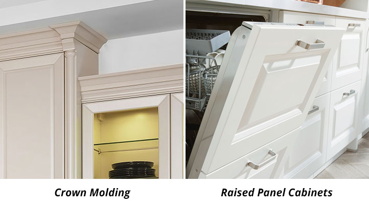 raised panel cabinets and crown molding